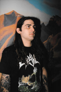 Chase H. Mason, singer of GATECREEPER. Photo by Hayley Rippy.