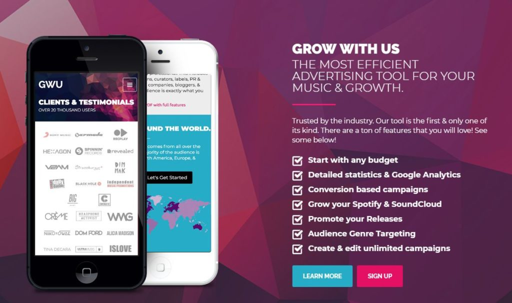 GROW WITH US Music Marketing Platform